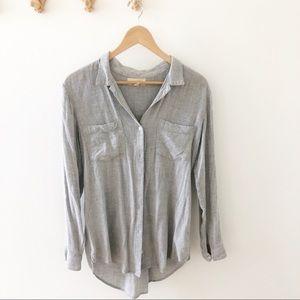 Anthropologie | Cloth & Stone Gray Buttondown Top